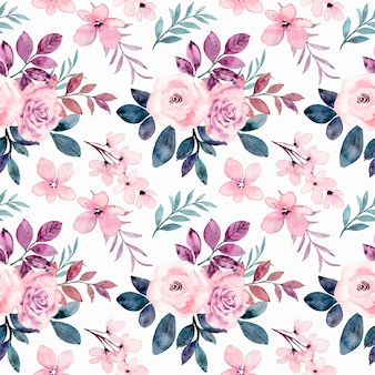 Seamless pattern of pink rose flower with watercolor
