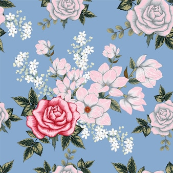 Seamless pattern pink rose flowers background.