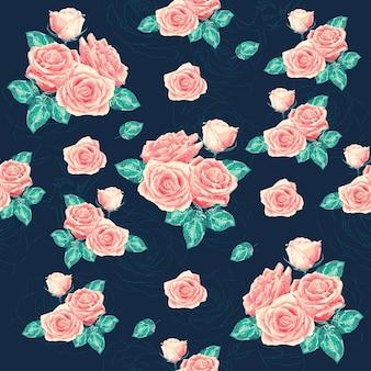 Seamless pattern pink rose flowers on dark blue bacground.