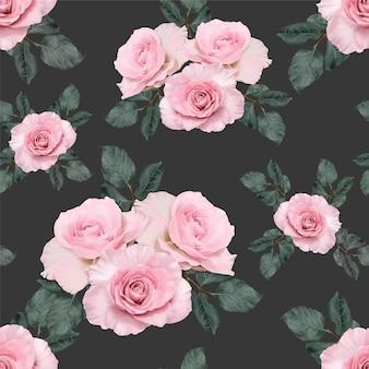 シームレスパターンピンクのバラの花手描きパステル画。