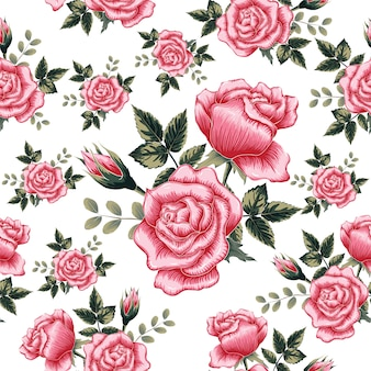 Seamless pattern pink rose flowers isolate background.