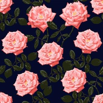 Seamless pattern pink rose flowers vintage