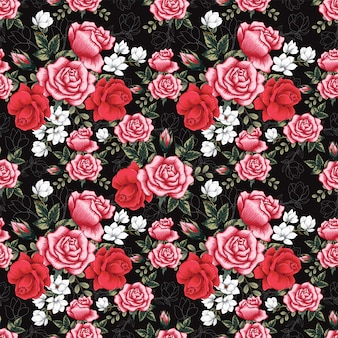 Seamless pattern pink rose and magnolia flowers background.