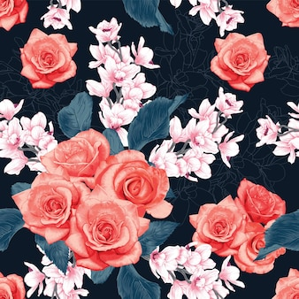 Seamless pattern pink rose and orchid flowers abstract background.