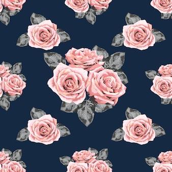 Seamless pattern pink rose vintage flowers background