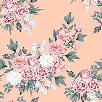 Seamless pattern pink rose vintage
