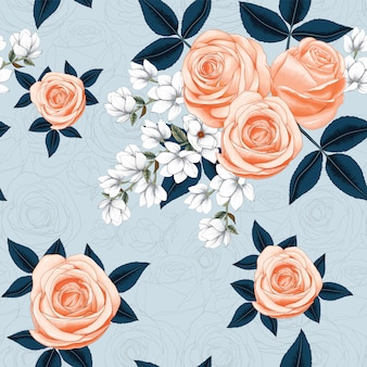 Seamless pattern pink rose and white magnolia flowers on abstract background