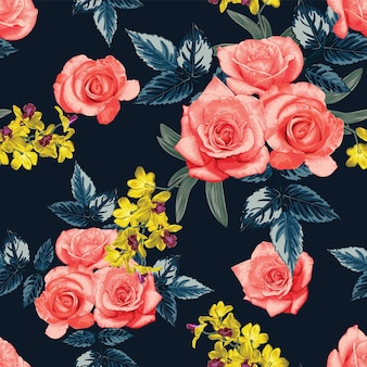 Seamless pattern pink rose and yellow orchid flowers.