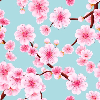 Seamless pattern of pink sakura.
