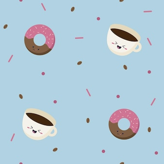 Seamless pattern of pink sweet donuts with sparkles on top and simple coffee mug with coffee beans