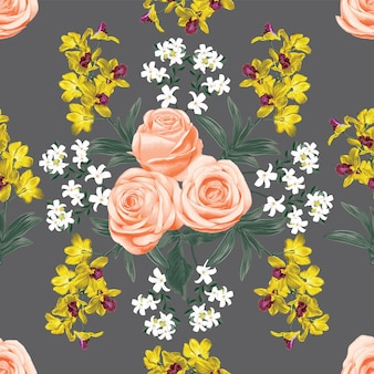 Seamless pattern pink vintage rose and yellow orchid flowers.