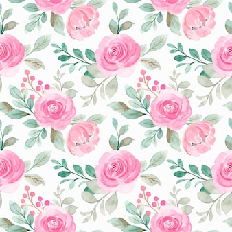 Seamless pattern of pink watercolor floral