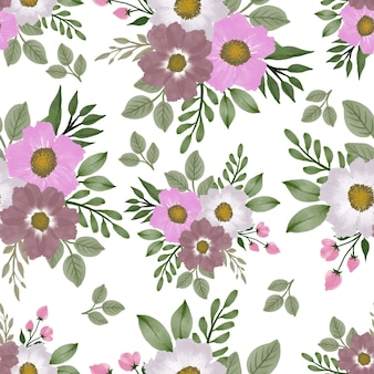 Seamless pattern pink white flower bouquet for fabric design