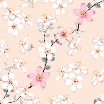 Seamless pattern pink wild flowers on isolated pastel background