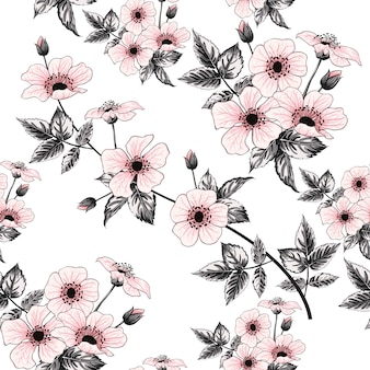 Seamless pattern pink wild rose flowers, hand drawing
