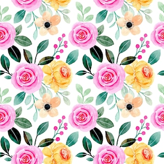 Seamless pattern of pink yellow floral watercolor