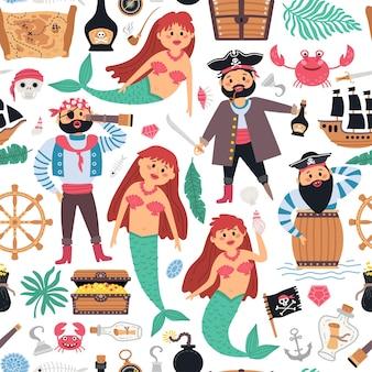 男の子のためのシームレスなパターンの海賊と人魚の背景。