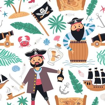 シームレスなパターンは、男の子の背景を海賊します。かわいい子供たちのデザイン