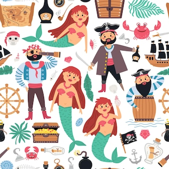 Seamless pattern pirates and mermaid background for baby boy.