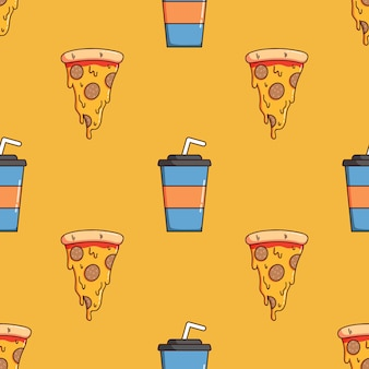 Seamless pattern of pizza slice and soda paper cup with doodle style