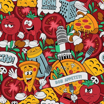 A seamless pattern for a pizzeria theme
