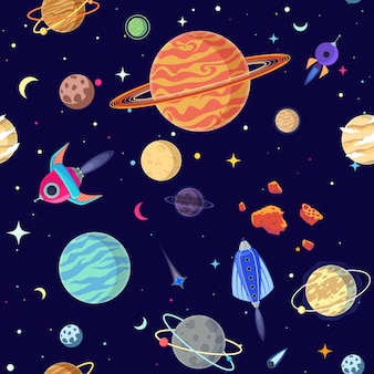 Seamless pattern of planets in open space.