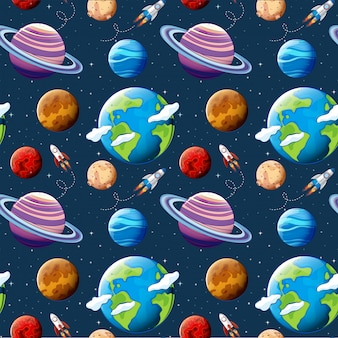 Seamless pattern planets and space