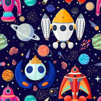 Seamless pattern of planets and spaceships in open space.