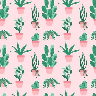 鉢植えのシームレスパターン植物と多肉植物