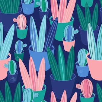 Seamless pattern plants, cacti, succulents in pot. background scandinavian cozy home decor
