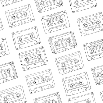 Seamless pattern, plastic cassette, audio tape with different music. hand drawn contour background, retro style.