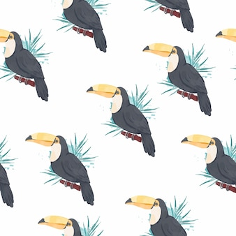 Seamless pattern of playful toucan in watercolour style