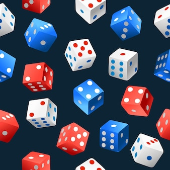 Seamless pattern of playing dice falling in various positions