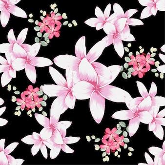 Seamless pattern plumeria flowers.
