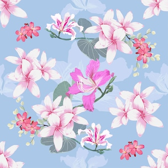 Seamless pattern plumeria and pink wild flowers background.