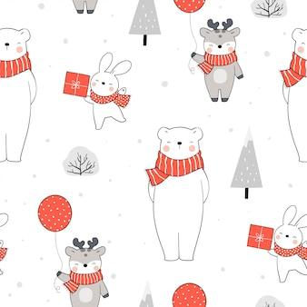 Бесшовный фон белый медведь кролик и олень на рождество.
