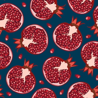 Seamless pattern pomegranate fruits and seeds.