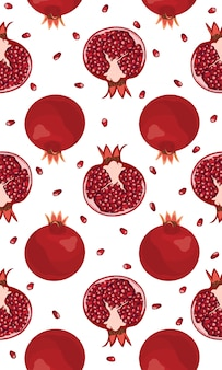 Seamless pattern pomegranate fruits and seeds
