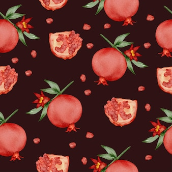 Seamless pattern of pomegranate and green leaf