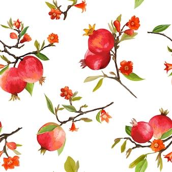 원활한 패턴입니다. 석류 열 대 배경입니다. 플로랄 패턴. 꽃, 잎, 과일. 벡터