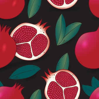 Seamless pattern of pomegranate with leaves on dark blue