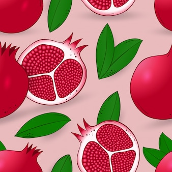Seamless pattern of pomegranate with leaves
