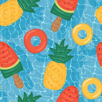 Seamless pattern of pool with floating mattresses shaped like pineapple and watermelon