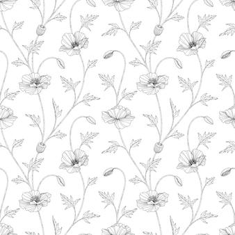 원활한 패턴 양 귀 비 꽃 손으로 그린 그림 흰색 배경에 라인 아트.
