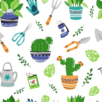 Seamless pattern - potted house plants, garden tools
