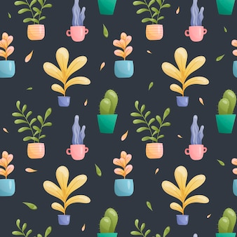 Seamless   pattern of potted plants