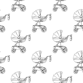 Бесшовные модели. коляска, детская коляска на белом фоне в стиле эскиза.