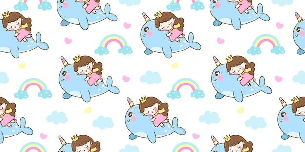 かわいいイッカクの漫画の甘い夢のかわいい動物のシームレスなパターンの王女の睡眠