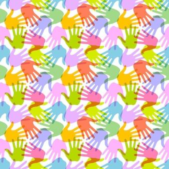 Seamless pattern. print of hands. vector illustration