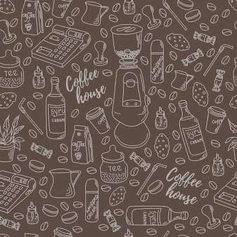 Seamless pattern for printing on paper or fabric. coffee shop motifs.